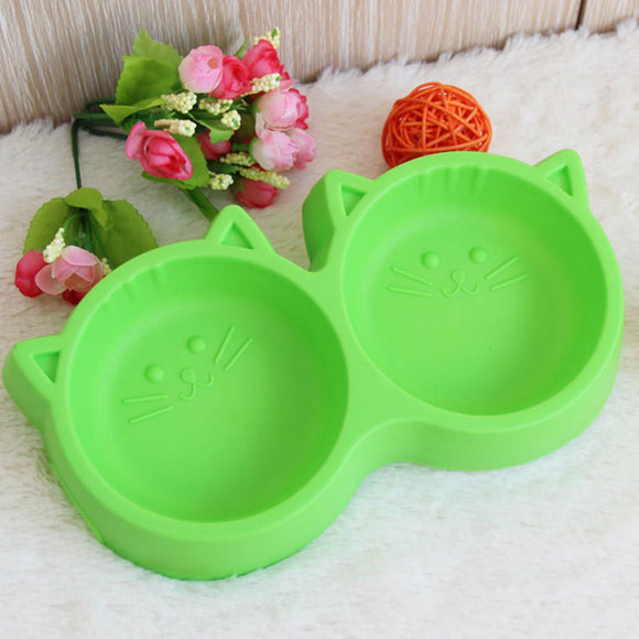 Plastic Cat Face Pet Bowl