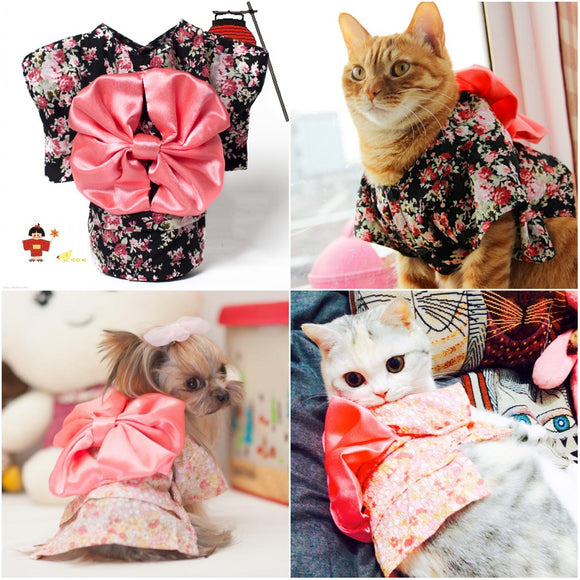 Japan Style Pet Cat Kimono small flower
