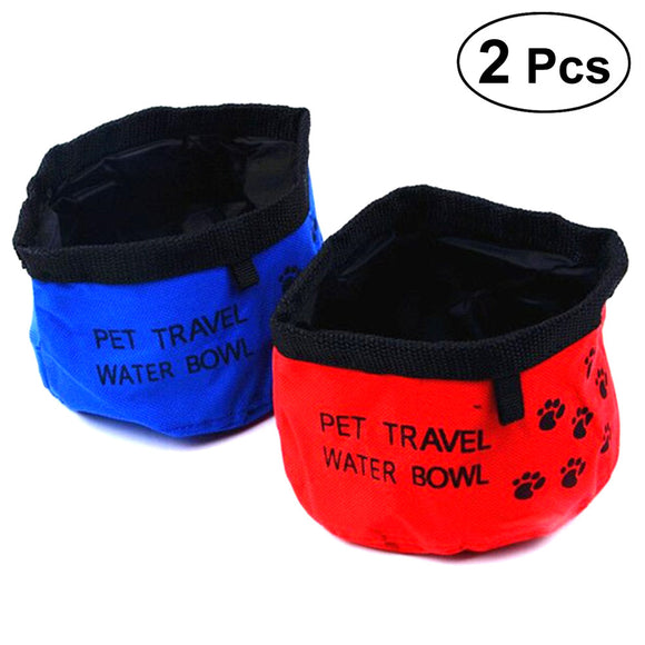 2Pcs Collapsible Dog Bowl Food Grade Oxford Cloth Foldable Waterproof Cup Dish Portable Travel Bowl for Pet Cat Food Water Feeding