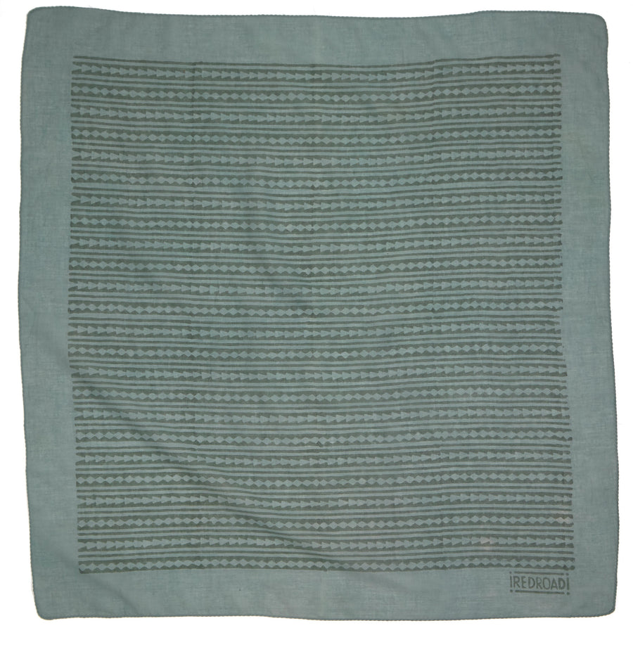 diamond stripe-sage green aqua <> hand block printed bandana