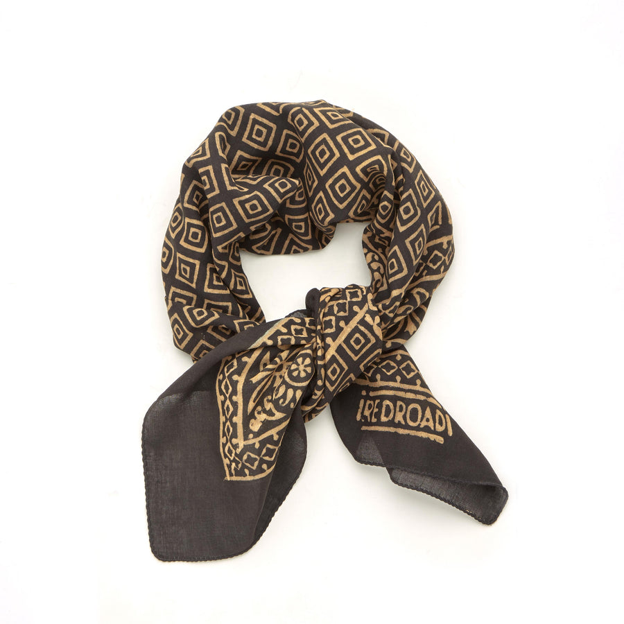 ✶ crop circle-black taupe ✶ hand block printed bandana