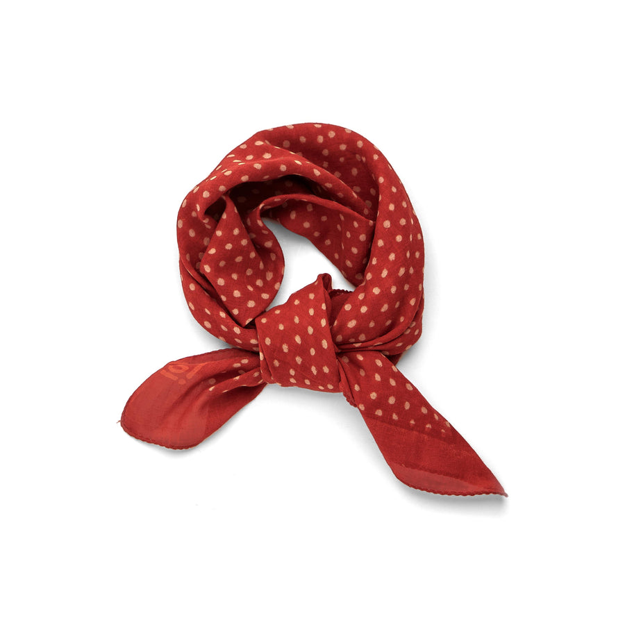 dancing dots-red madder <> hand block printed bandana