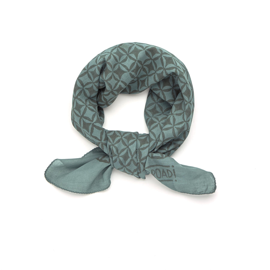 diamond lace-turquoise green <> hand block printed bandana
