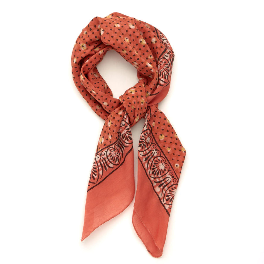 dreamtime-coral clay iron <> hand block printed bandana