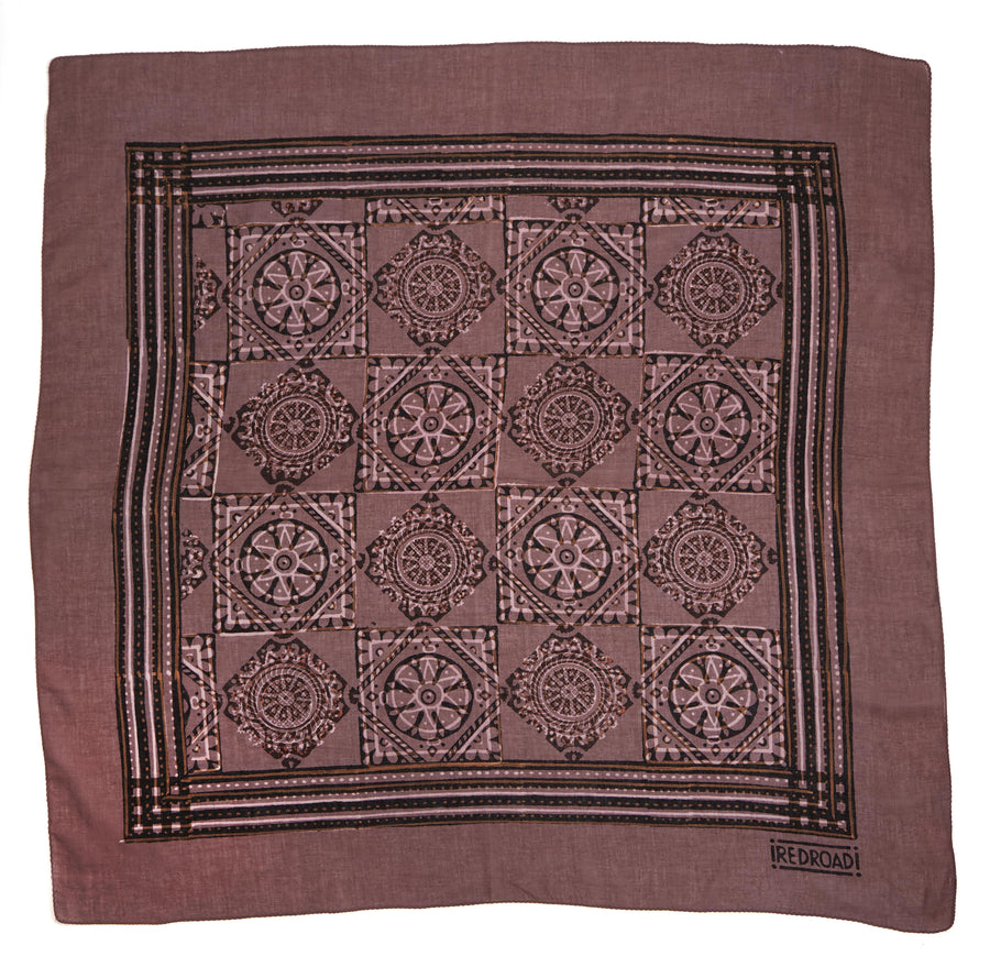 floating flower-rosey mauve black <> hand block printed bandana