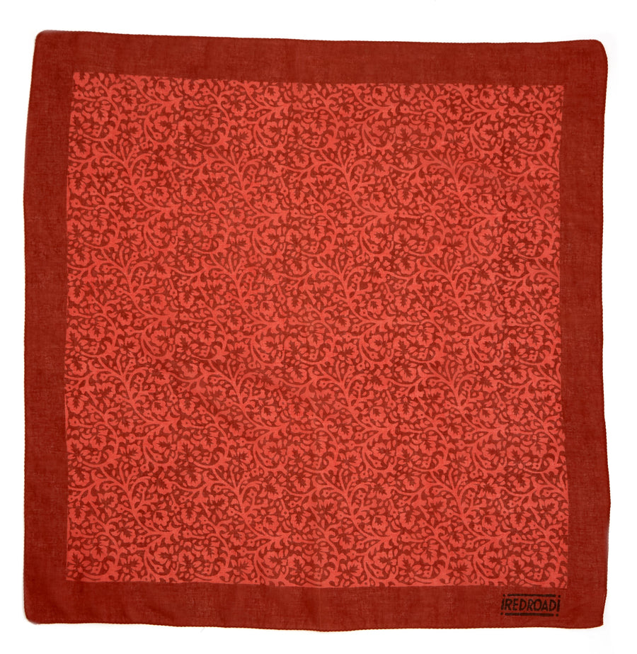 lace flower- deep coral <> hand block printed bandana