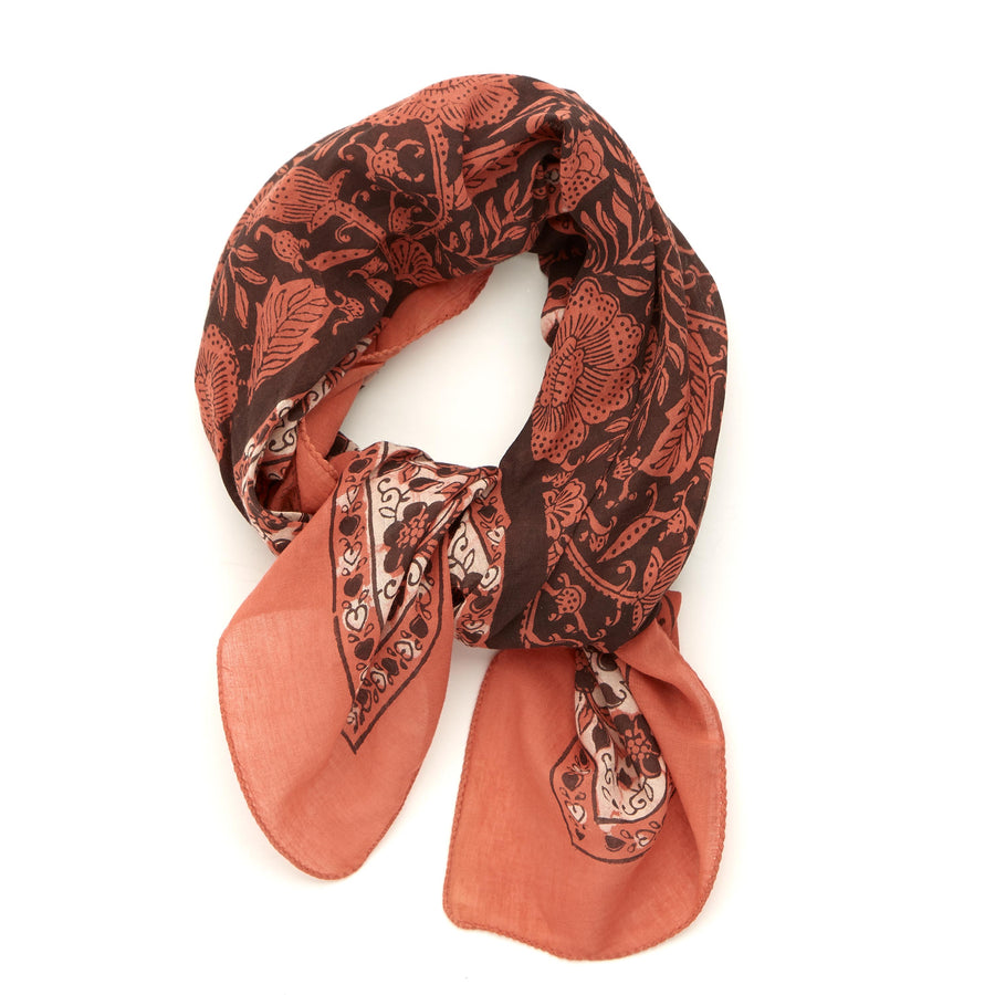 meadow-coral clay iron <> hand block printed bandana
