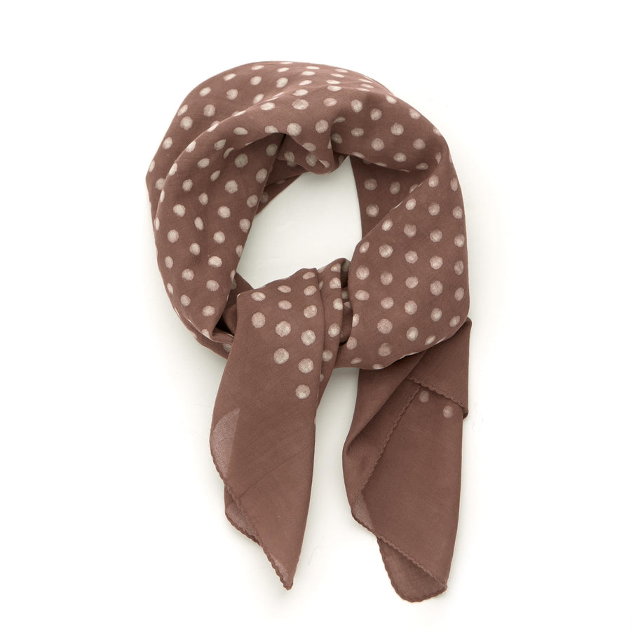 dabu clay polka-chocolate <> hand block printed bandana