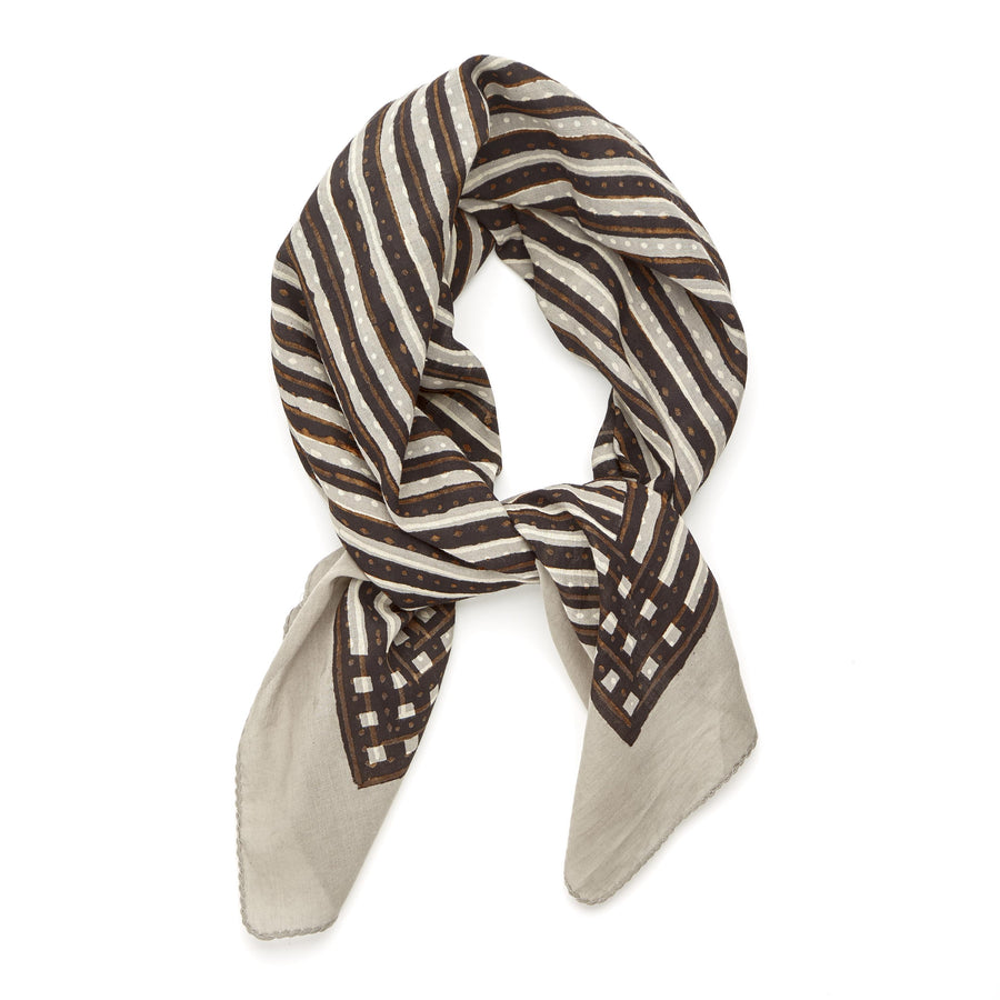 ✶ songlines-black dove gray spice ✶ hand block printed bandana