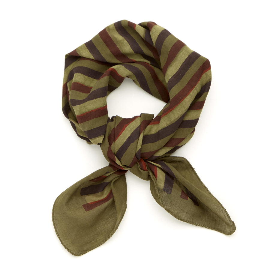 straight to spirit stripe-olive gold red madder iron <> hand block printed bandana