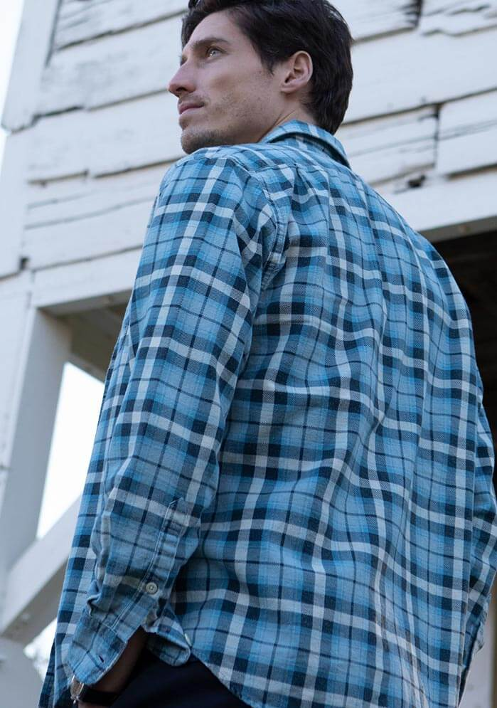 Marlan Summer Flannel Long Sleeve Shirt in Blue White Flannel Plaid