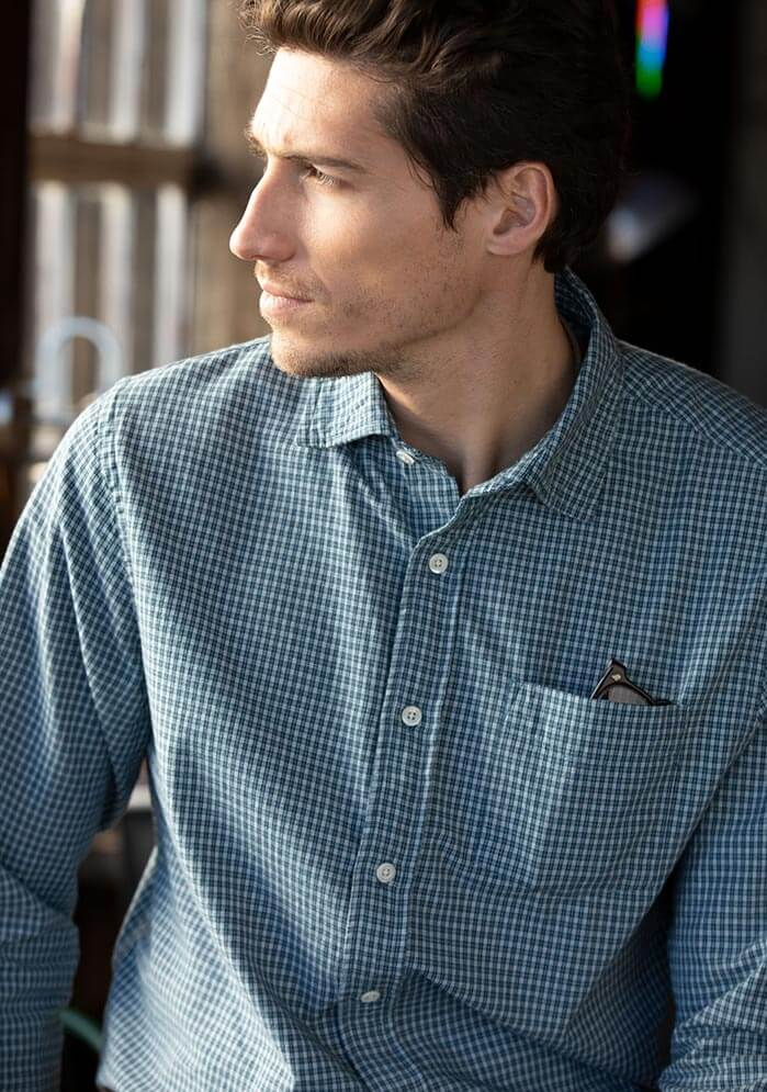 Excella Micro Check Shirt in Navy White Check