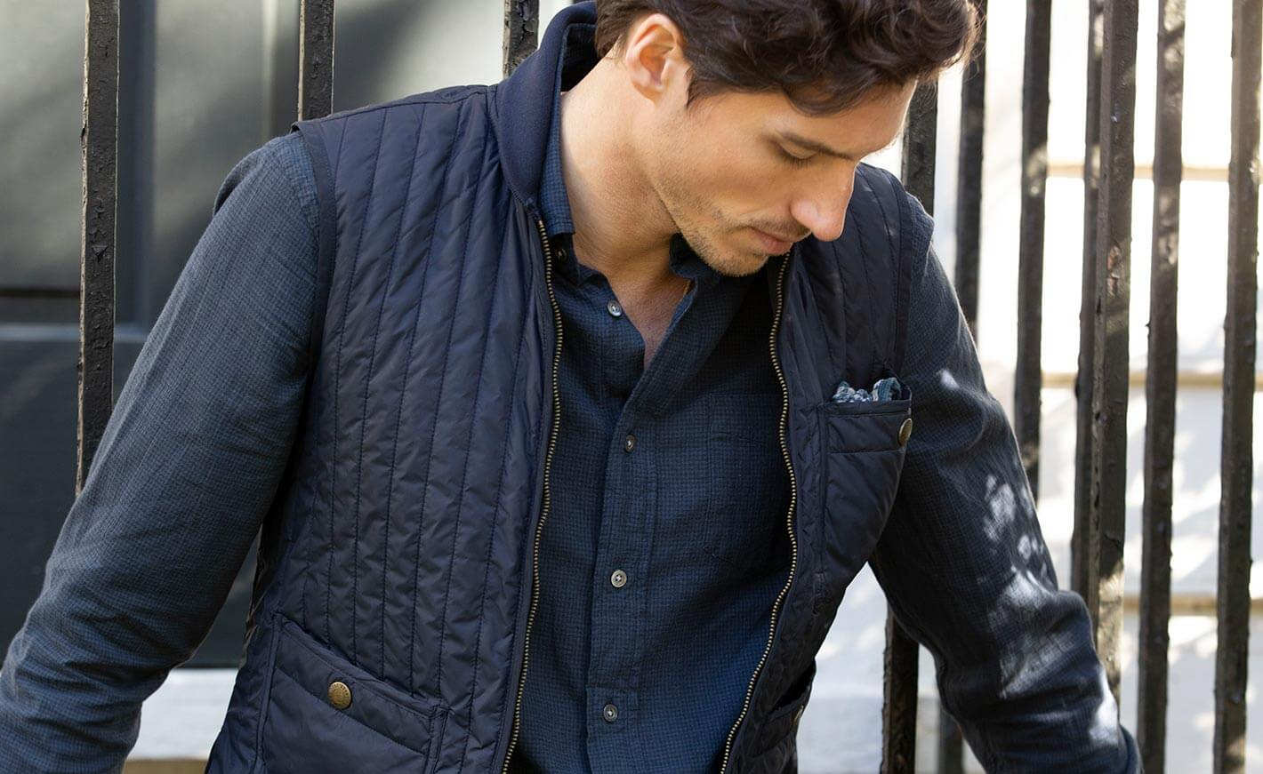 Trade Street Quilted Vest in Navy