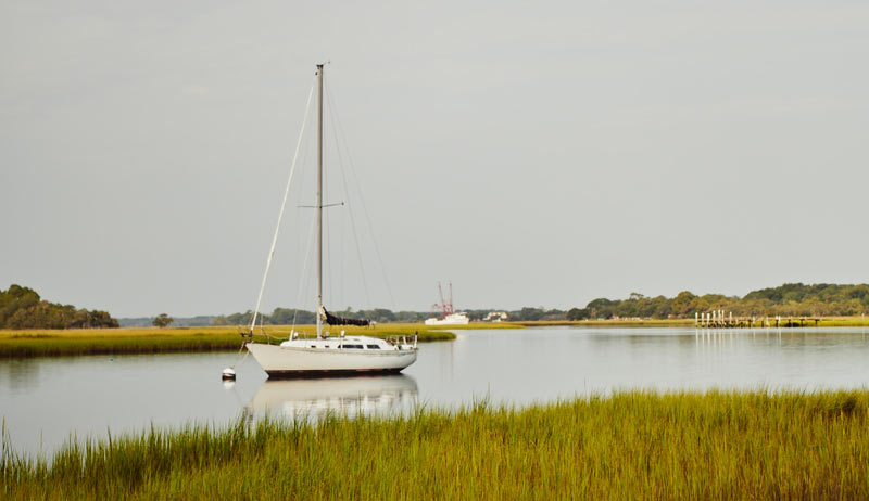Boats on the marsh outside Bowens Island Restaurant