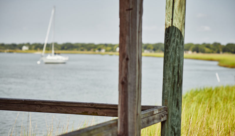 Boats off the marsh in Bowens Island SC