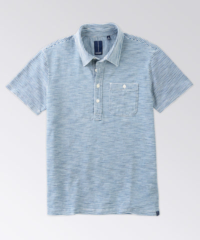 Fairfield Indigo Stripe Short Sleeve Polo Shirt