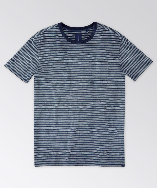 Ashley Indigo Stripe Pocket Tee Shirt
