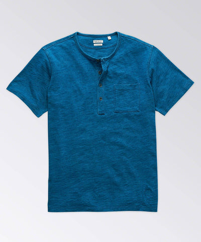 Coastal Short Sleeve Indigo Cotton Slub Henley Shirt