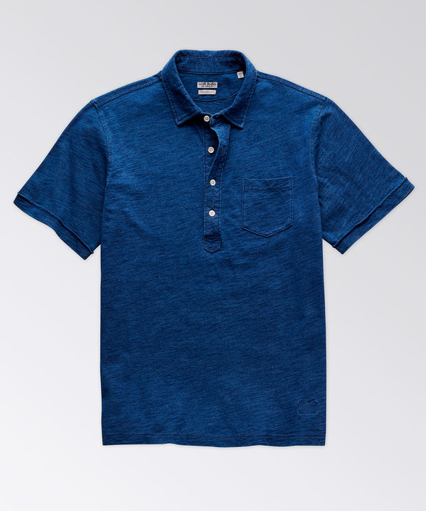 Avedon Short Sleeve Indigo Pocket Polo Shirt