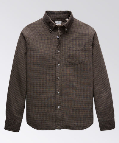 King Street Cotton-Linen Olive Micro Check Shirt