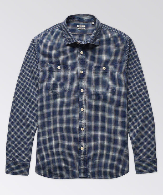 Marlan Indigo Check Long Sleeve Workshirt
