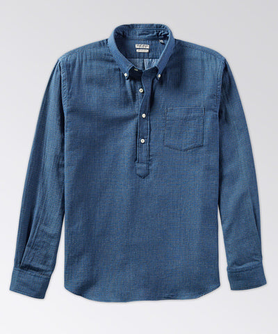 Warren Long Sleeve Indigo Popover Shirt