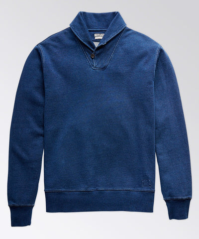 Tradd Shawl Collar Indigo Jersey Sweater