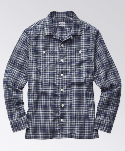 Stanton Madras Camp Shirt - Dark Navy
