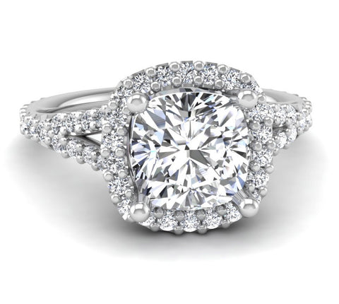 Split Shank Cushion Cut Diamond Halo Mounting
