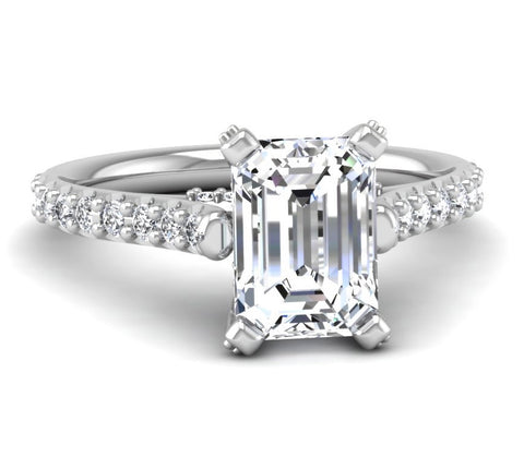 Micropave Engagement Ring Mounting for Emerald Cut Diamond