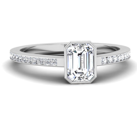 Bezel Set Emerald Cut Diamond Engagement Ring Mounting