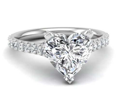 Micropave Engagement Ring Mounting for Heart Shaped Diamond