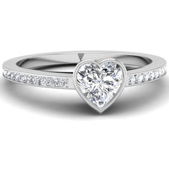Bezel Set Heart Shaped Diamond Engagement Ring Mounting