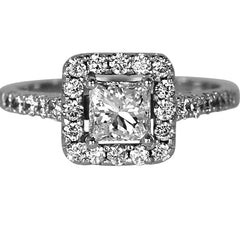 Princess Cut Halo Style Engagement Ring