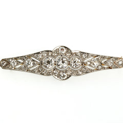 Circa 1900 Brooch with 2.43 carats in Old European Cut Diamonds