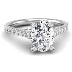 Micropave Engagement Ring Mounting for Oval Cut Diamond