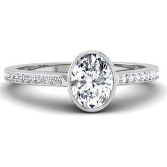 Bezel Set Oval Brilliant Shaped Diamond Engagement Ring Mounting