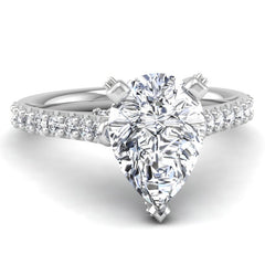 Micropave Engagement Ring Mounting for Pear Cut Diamond