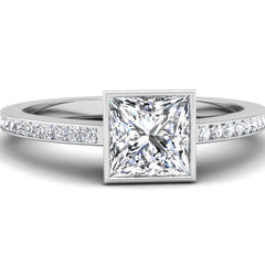Bezel Set Princess Cut Engagement Ring Mounting