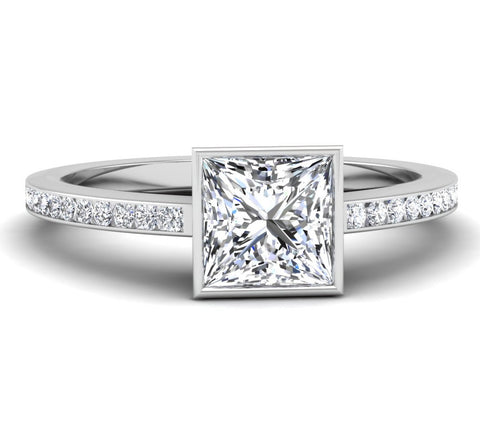 Bezel Set Princess Cut Engagement Ring Tara Nash Jeweler