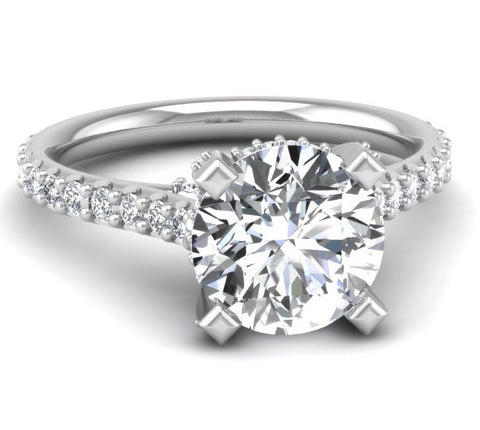 Micropave Engagement Ring Mounting for Round Brilliant Diamond