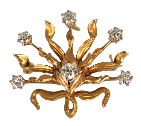 Circa 1910 Art Nouveau Sunburst Brooch