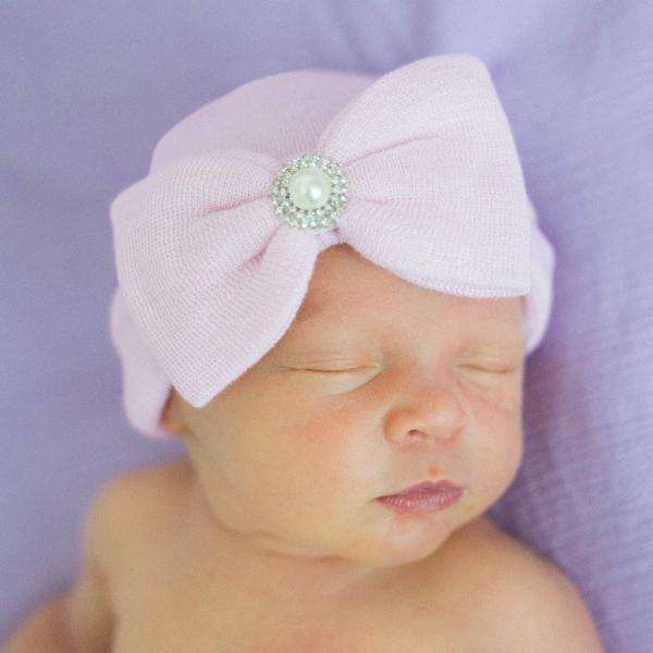 ilybean Aria Pink Big Bow Newborn Girl Hospital Hat with Pearl Rhinestone