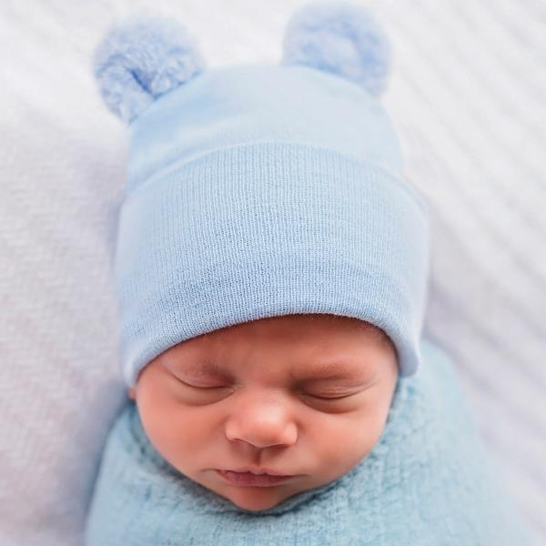 ilybean Fuzzy Blue Baby Bear Newborn Hospital Hat for Newborn Boys