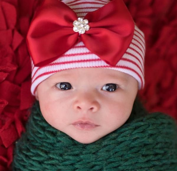 ilybean Wrapped with a Bow Christmas Newborn Girls Hat