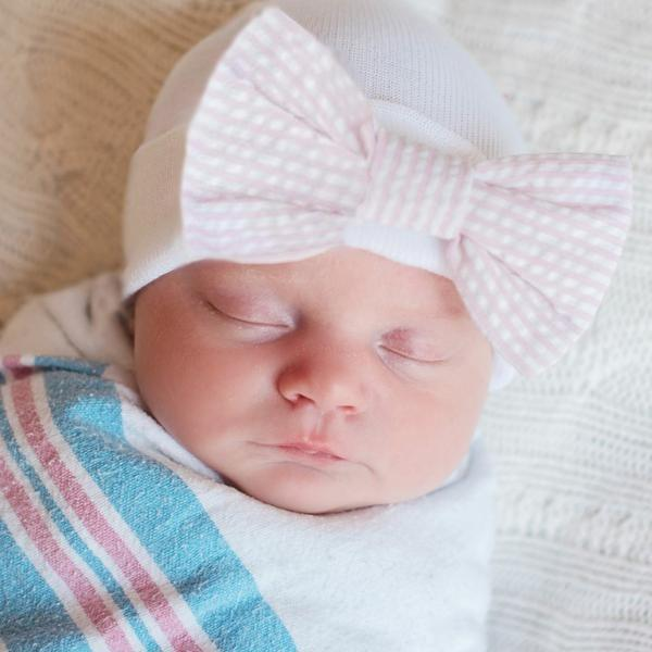 ilybean Seersucker Stripe Pink and White Bow Newborn Girl Hospital Hat Newborn Girl Hat
