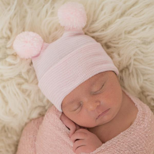 Double PINK STRIPED Pom Pom Hospital Hat Newborn Girl Hospital Hat