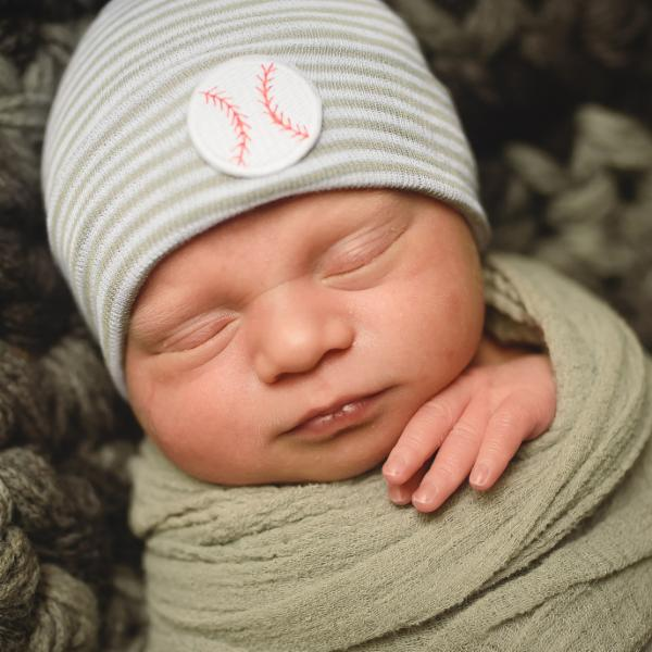 Home-run Newborn Boy Grey and White Hospital Hat - Baseball Baby Hat