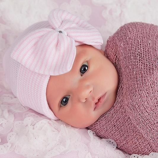 ilybean Pink and White Striped Big Bow Newborn Girl Hospital Hat with Gem