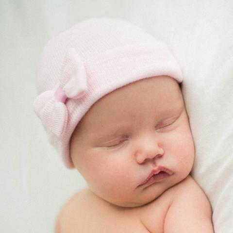 ilybean Pink Teeny Bow Newborn Girl Hospital Hat - Pink Hospital Hat Newborn - Tiny Bow